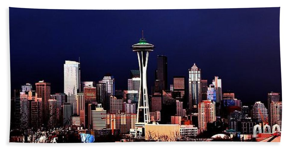 Seattle Hand Towel featuring the photograph Deep Blue Sky by Benjamin Yeager