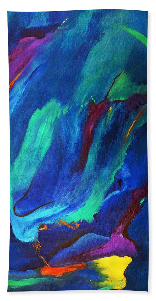 Abstract Hand Towel featuring the painting Deep Blue Thoughts by Ruth Palmer