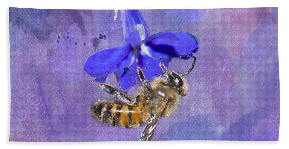 Honey Bee Bath Sheet featuring the photograph Deep In Purple by Betty LaRue
