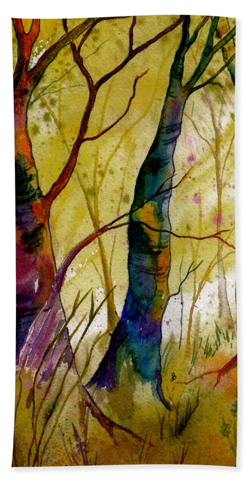 Landscape Bath Sheet featuring the painting Deep In The Woods by Brenda Owen