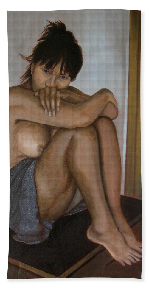 Figure Bath Sheet featuring the painting Deep In Thought by Thu Nguyen