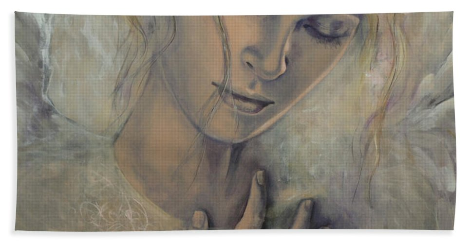 Art Bath Sheet featuring the painting Deep Inside by Dorina Costras
