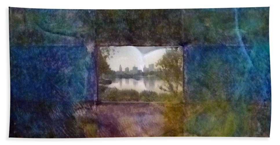 Urban Landscape Bath Sheet featuring the mixed media Deep Memory by Barbara Oertli