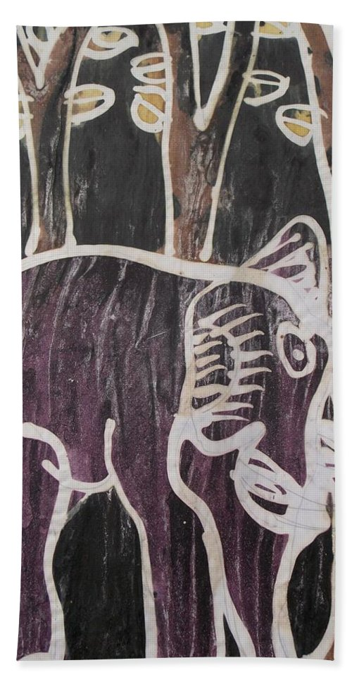 Forest Bath Sheet featuring the painting Deep Purple Elephant Painting In The Forest. by Okunade Olubayo