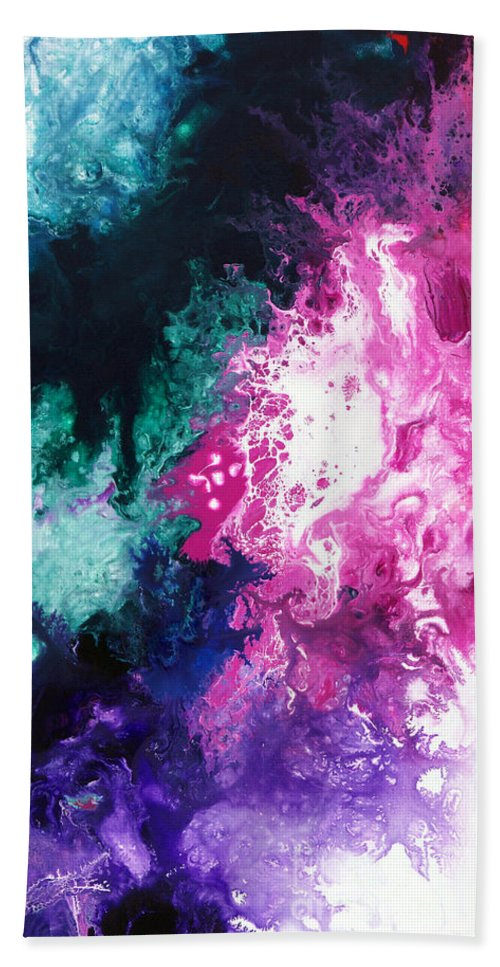 Abstract Bath Sheet featuring the painting Deep Space Canvas Three by Sally Trace