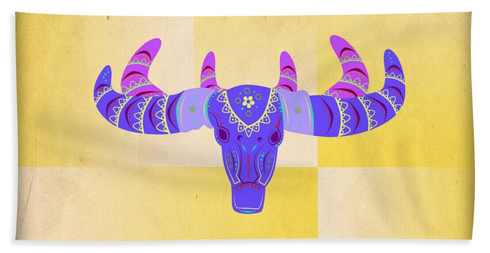 Deer Bath Sheet featuring the digital art Deer 2 by Mark Ashkenazi