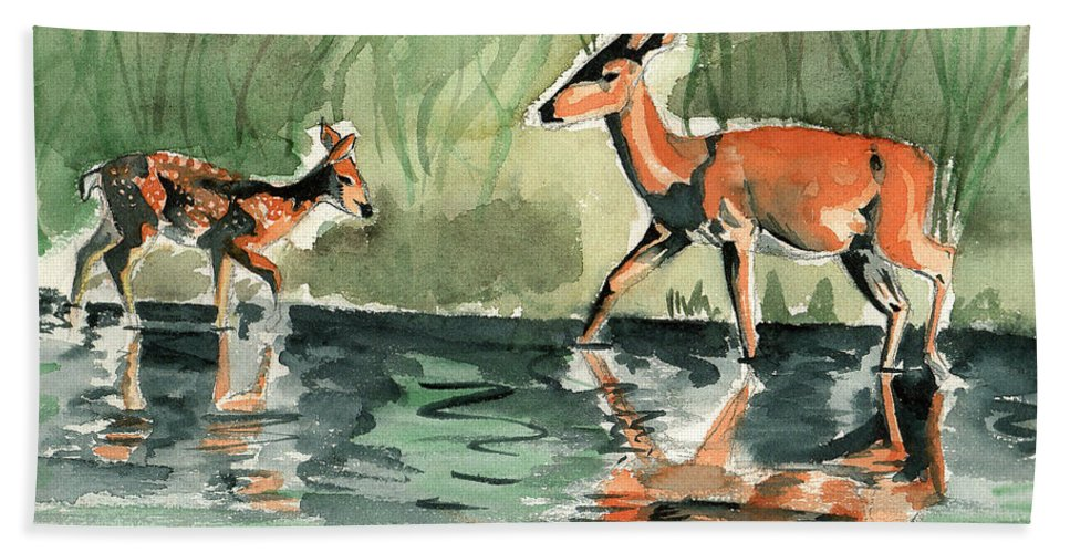 Deer Hand Towel featuring the painting Deer At The River by Genevieve Esson