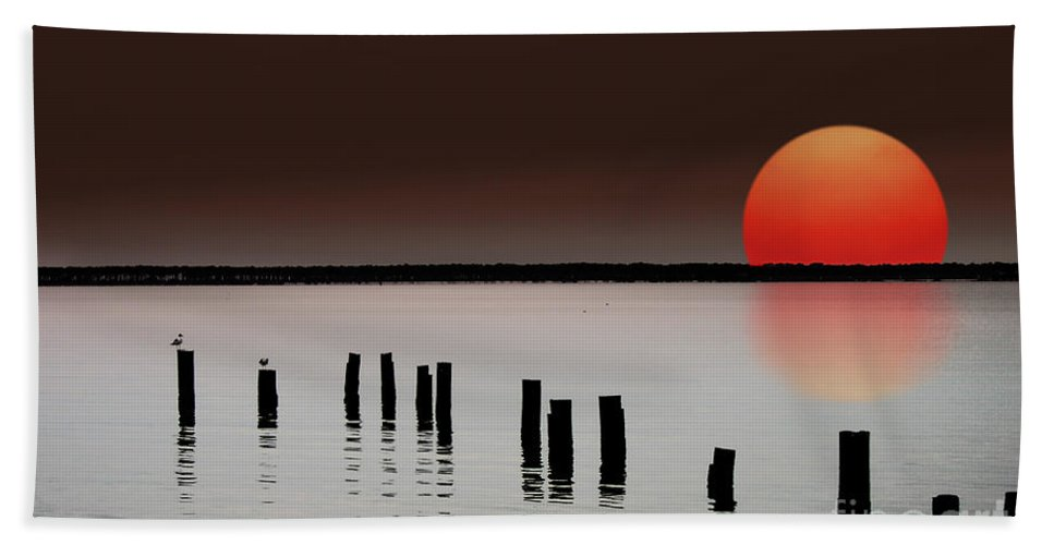 Island Hand Towel featuring the photograph Deer Island Sunset by Mike Nellums
