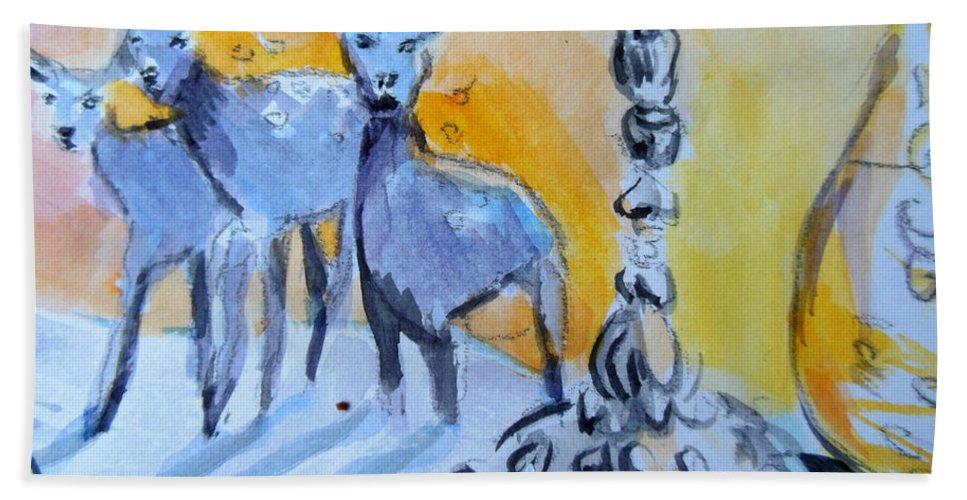 Deer Hand Towel featuring the painting Deer by Lucia Hoogervorst