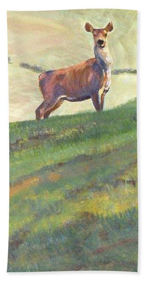 Deer Bath Sheet featuring the painting Deer by Mike Jory