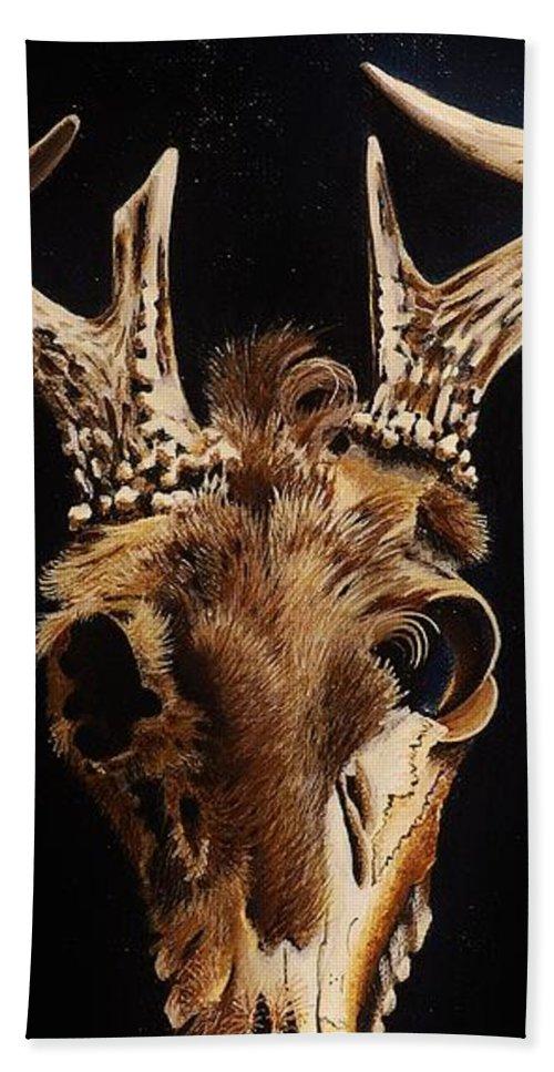Deer Bath Sheet featuring the painting Deer Skull by Joy Bradley