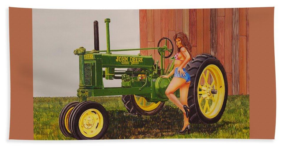 Tractor Bath Sheet featuring the painting 1938 Model B John Deere by Rick Bennett