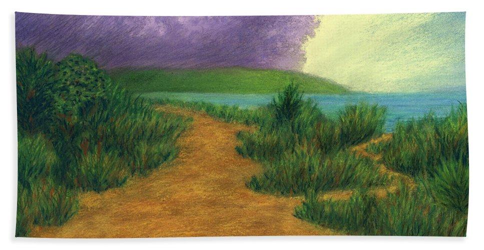 Del Bath Sheet featuring the pastel Del Mar Trails 03 by Michael Heikkinen