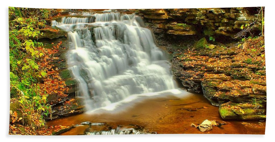 Waterfall Bath Sheet featuring the photograph Delaware Falls - Ricketts Glen by Nick Zelinsky