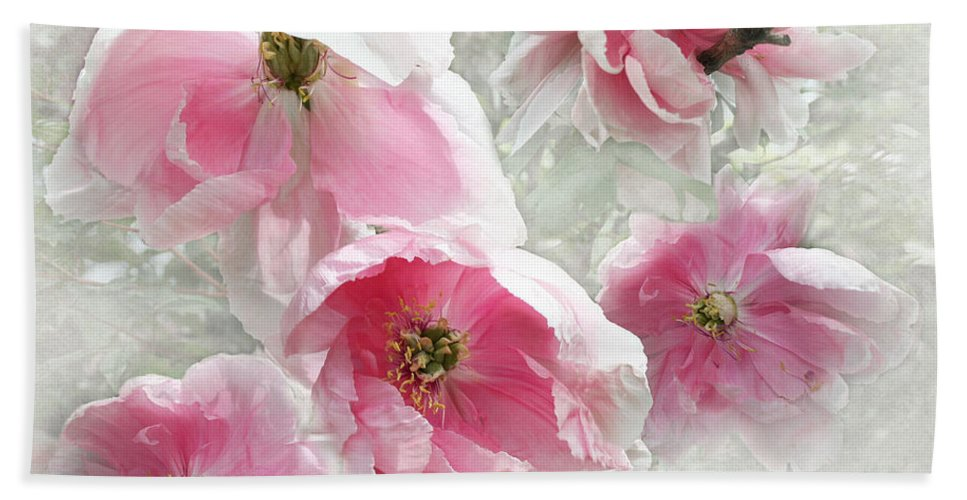 Flowers Hand Towel featuring the photograph Delicate Tree Peonies Branching Out by Barbara McMahon