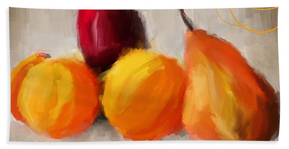 Pears Hand Towel featuring the painting Delight by Lourry Legarde
