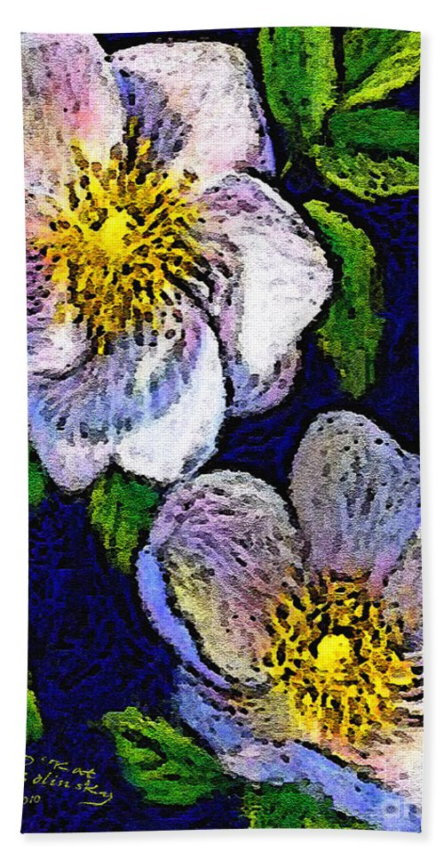 Dogwoods Hand Towel featuring the painting Delightful Dogwood by Kat Solinsky