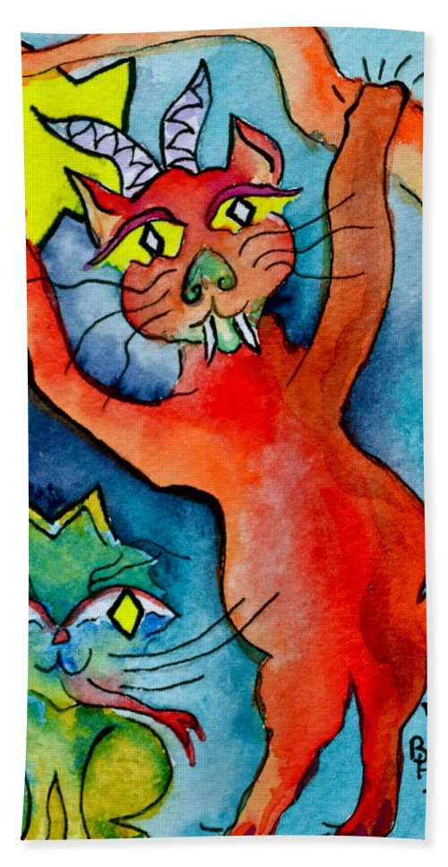 Demon Hand Towel featuring the painting Demon Cats Reach by Beverley Harper Tinsley
