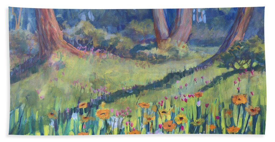 Heather Coen Hand Towel featuring the painting Demonstration Garden by Heather Coen