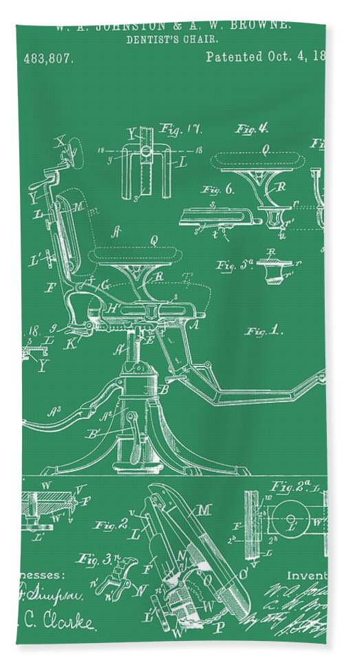 Antique Dental Chair Patent Hand Towel featuring the digital art Dental Chair Patent by Dan Sproul
