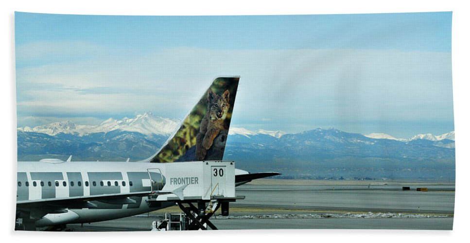 Frontier Hand Towel featuring the photograph Denver Airport With Rockies In Background by Marilyn Hunt