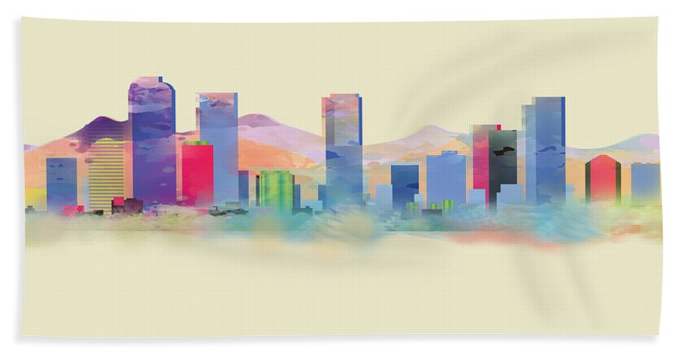 Denver Bath Sheet featuring the painting Denver Colorado Skyline I by Loretta Luglio