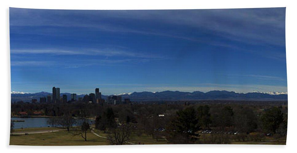 Landscape Bath Sheet featuring the photograph Denver, Colorado Skyline by Brian Jordan