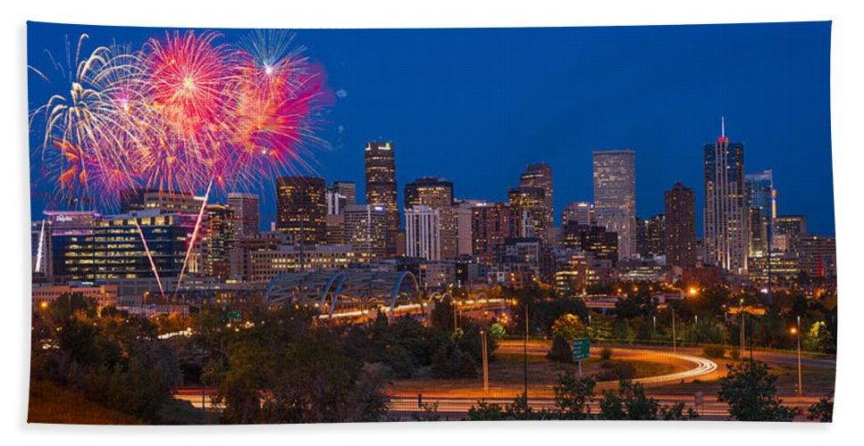 Denver Hand Towel featuring the photograph Denver Skyline Fireworks by Steve Gadomski