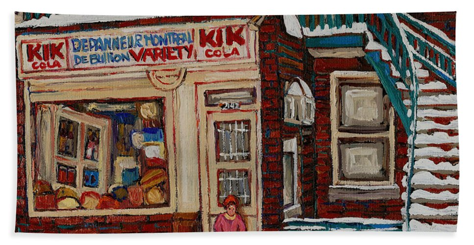 Montreal Depanneur Paintings Bath Sheet featuring the painting Depanneur Kik Cola Montreal by Carole Spandau