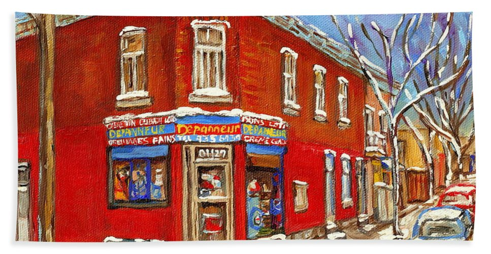 Montreal Hand Towel featuring the painting Depanneur Surplus De Pain Point St Charles Montreal Winterscene Paintings Cspandau Originals Prints by Carole Spandau