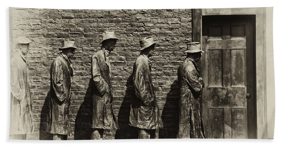 Depression Hand Towel featuring the photograph Depression Era Bread Line by Bill Cannon
