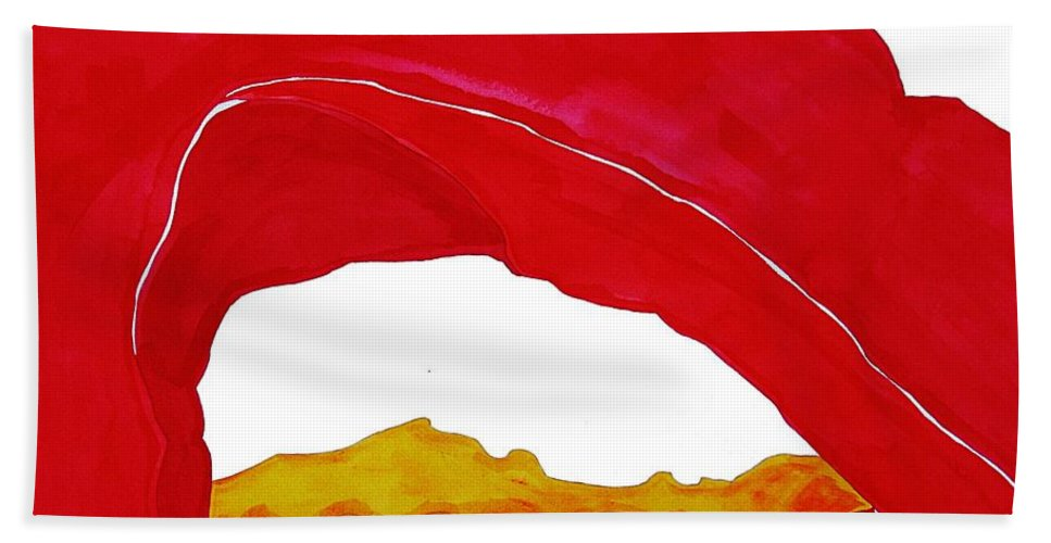 Desert Arch Hand Towel featuring the painting Desert Arch Original Painting Sold by Sol Luckman