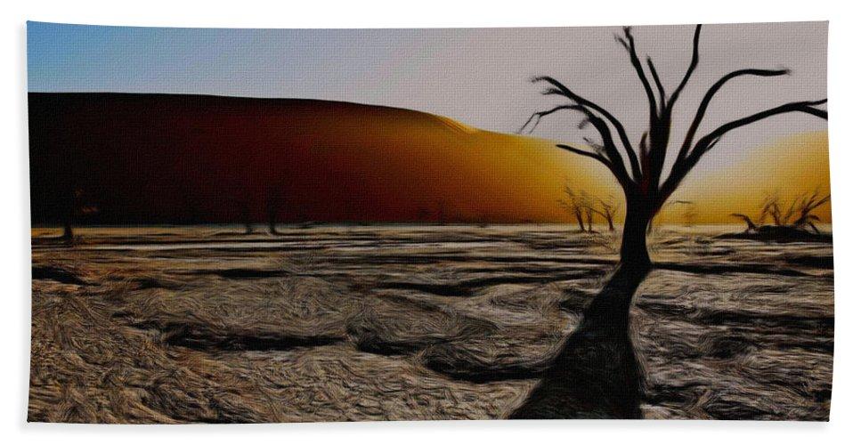 Desert Hand Towel featuring the painting Desert Floor by Wayne Bonney
