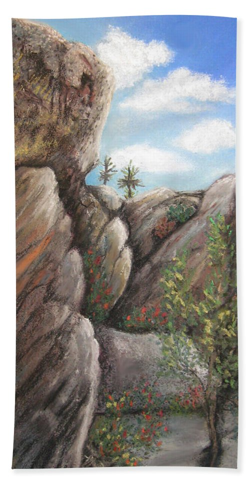 Desert Anza Borrego California Rocks Paloverde Landscape Nature Hand Towel featuring the pastel Desert Fortress by Brenda Salamone