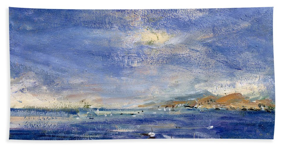 Seascape; Sea Hand Towel featuring the painting Desert Hills by Patricia Espir