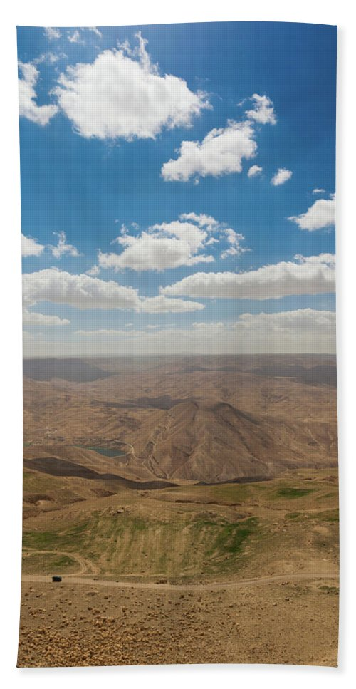 Photography Bath Sheet featuring the photograph Desert Landscape By The Tannur Dam by Panoramic Images