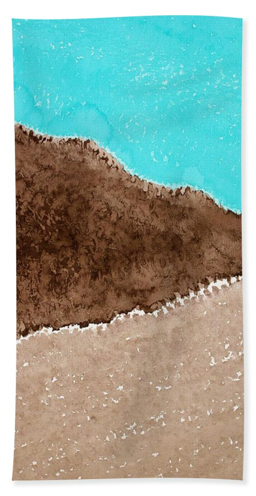 Desert Hand Towel featuring the painting Desert Mountains Original Painting by Sol Luckman