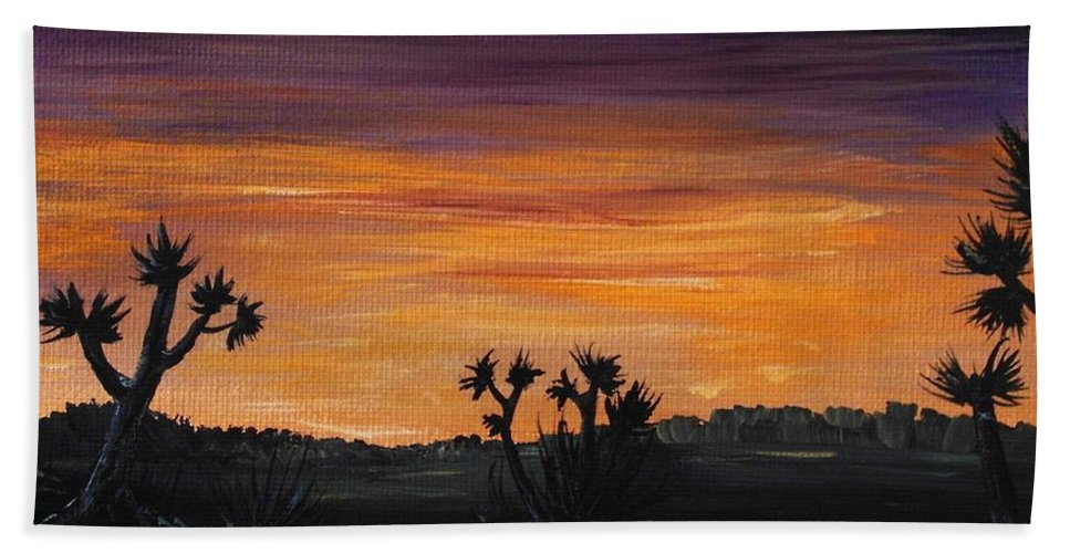 Calm Hand Towel featuring the painting Desert Night by Anastasiya Malakhova