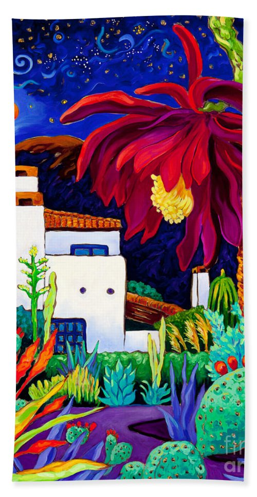 Epiphyllum Bath Sheet featuring the painting Desert Night Music by Cathy Carey