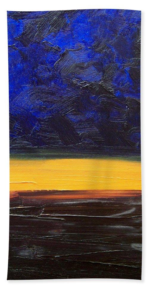 Landscape Bath Towel featuring the painting Desert plains by Sergey Bezhinets