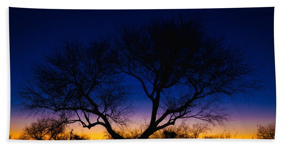 Outdoor Hand Towel featuring the photograph Desert Silhouette by Chad Dutson