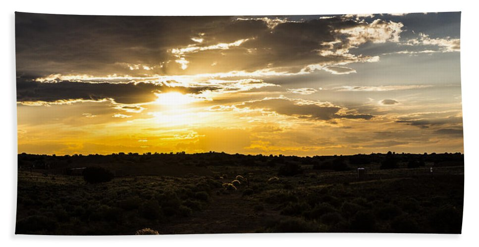 Route 66 Hand Towel featuring the photograph Desert Sunset by Angus Hooper Iii