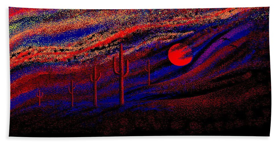 Desert Sunset Quickly Sketched In Four And Half Hours.... Bath Towel featuring the digital art Desert Sunset by Larry Lehman