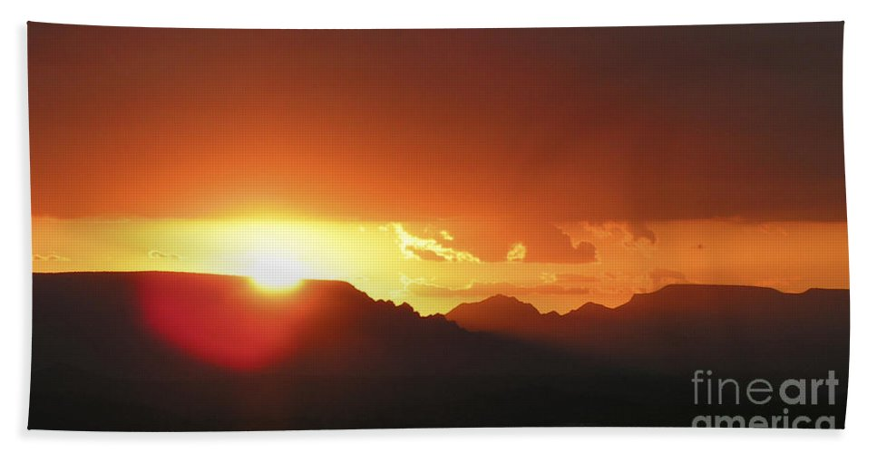 Lovejoy Bath Sheet featuring the photograph Desert Sunset by Lovejoy Creations