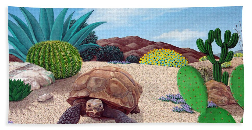Tortoise Bath Sheet featuring the painting Desert Tortoise by Snake Jagger