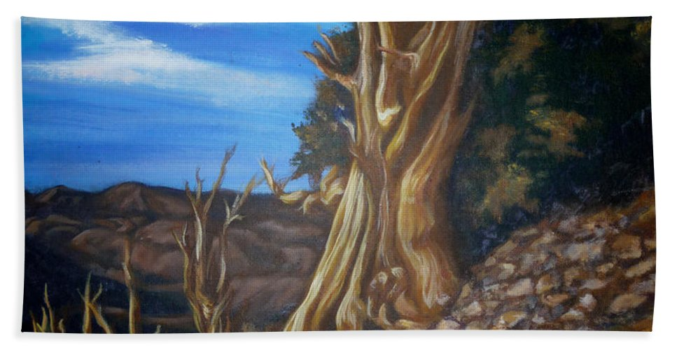 Desert Hand Towel featuring the painting Desert Tree by Bryan Bustard