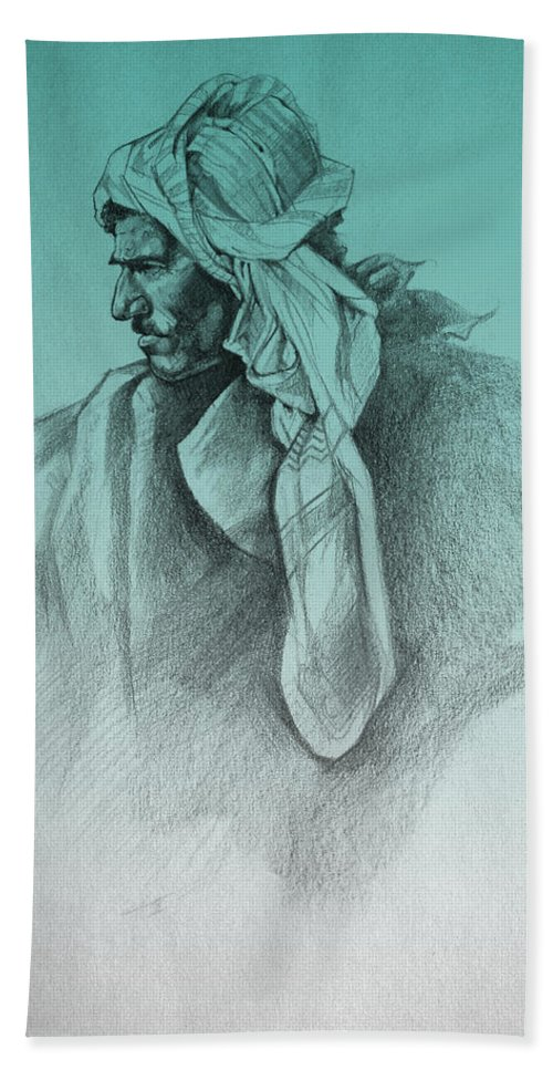 Nomad Drawings Hand Towel featuring the drawing Desert Watch by Derrick Higgins