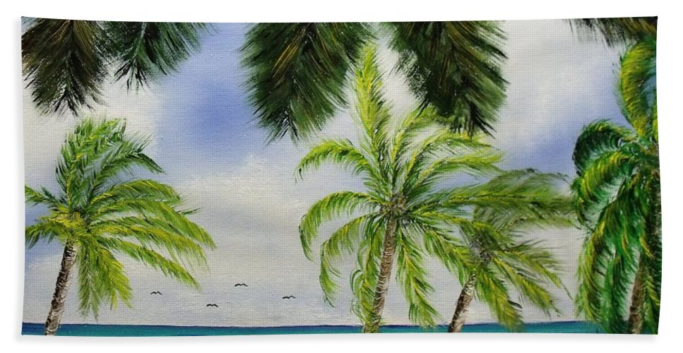 Island Bath Sheet featuring the painting Deserted by Don Bowling