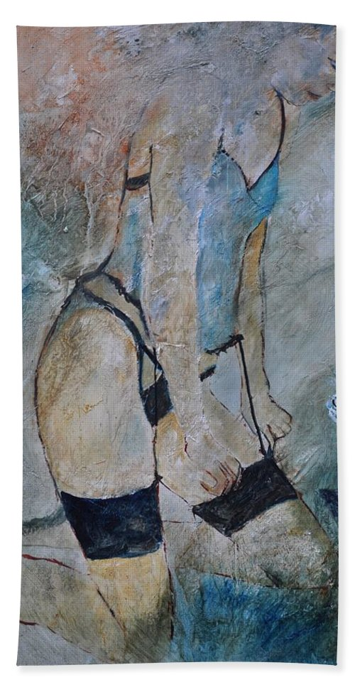 Nude Hand Towel featuring the painting Deshabille 57441 by Pol Ledent