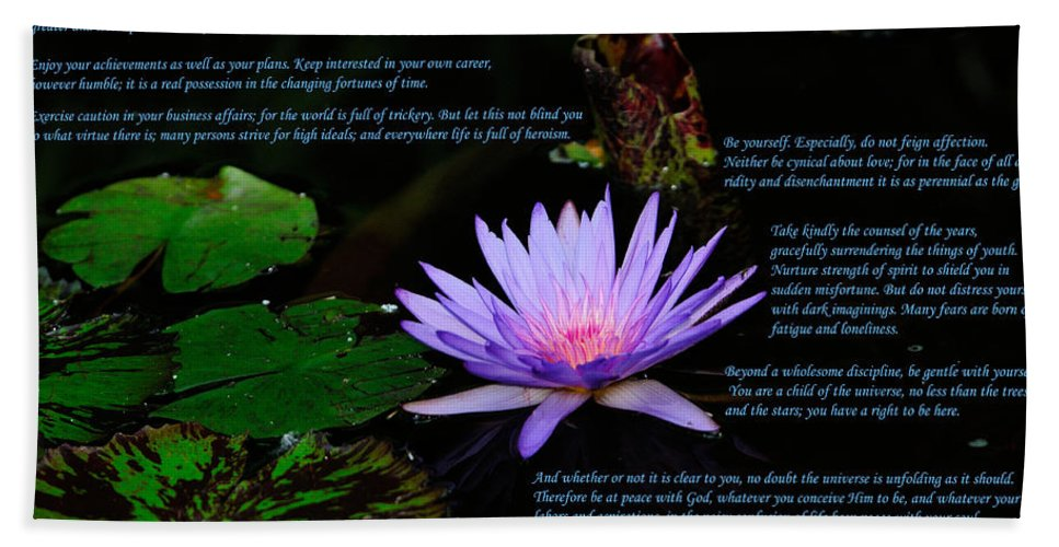 Desiderata Hand Towel featuring the photograph Desiderata by Greg Norrell